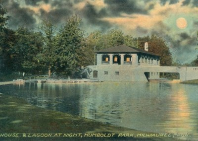 Humboldt Park Boat House and Lagoon at night
