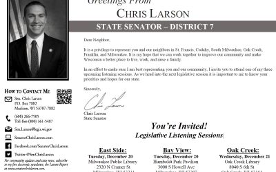 You're Invited! Legislative Listening Sessions with Chris Larson Tues Dec 20th