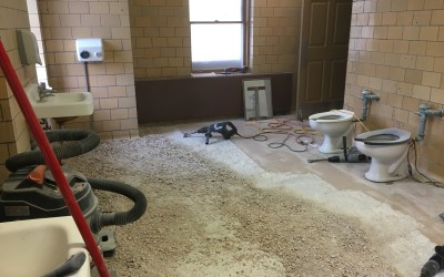 Humboldt Park pavillion's bathroom renovation has officially begun.